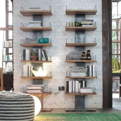 Liberia Infinity Oak and Steel Bookcase
